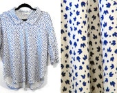 SALE Vintage 3/4 Sleeve White Blouse with Blue Leaf Print L