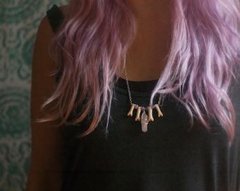 Rose Quartz and Bone Shield Necklace