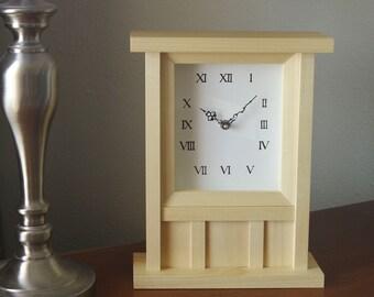 Wall Clock, Table Clock, Wood Clock with Pendulum, Small Clock, Mantel Clock, Small Wall Clock, Wall Clock Wood, Small Table Clock, Handmade