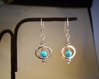 Turquoise and Silver Earrings, Turquoise Earrings, Silver Earrings, Round Blue, Native American style Earrings