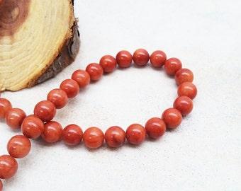 Red Jade Round Beads