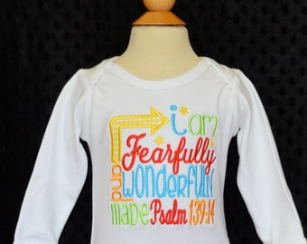 Personalized I am Fearfully and Wonderfully Made Applique Shirt or Onesie Girl or Boy