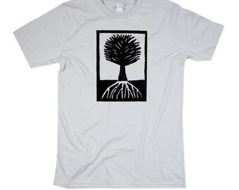 Mens Wood Cut Style Tree Tshirt - Mens Platinum Tree Shirt - In Small, Medium, Large, XL, 2XL