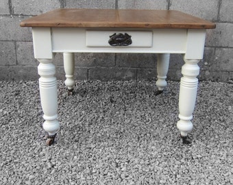 Victorian Pine Kitchen Dining Table Painted White Rustic