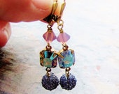 Larissa - Vintage Glass and Antique Brass Earrings