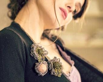 valentine's gift - textile brooch - linen brooch - unique brooch - brooch boutonniere - textile art - key brooch - rabbit brooch
