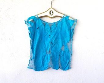 Vintage 70s 80s Boho Blue Floral Lace Cut Out Shirt // Cyan Aqua Hipster Crop Top