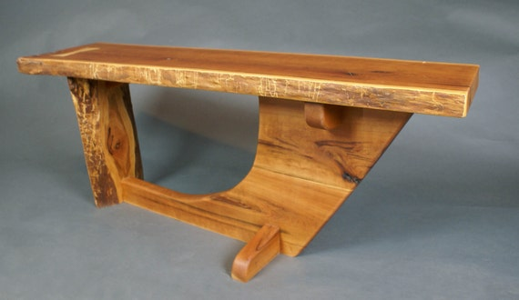 Rustic Cherry Bench with One Maple Butterfly