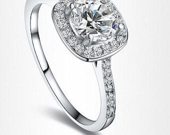 Halo Diamond Engagement Ring 1.5 Carat Lab Diamond various sizes.