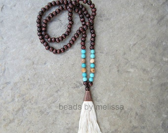 wood 108 mala beads with handmade tassel