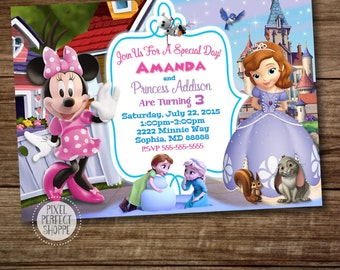 3 THEMES, Minnie Mouse Sophia Frozen Birthday Invitation, Invitations For Twins or Siblings, Mickey and Minnie Mouse Birthday Invitations
