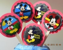 Mickey Mouse Cupcake Toppers (Set of 6) Great addition for a birthday party, school party or event.