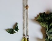 STOCKING STUFFER - ONE left - In the Verdant Necklaces - Earth Formed - Green and yellow crystal, silver, gold, copper pendant necklace
