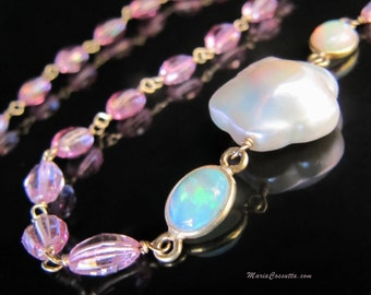 Long gemstone necklace, pink layering gold chain, ethiopian opal jewelry, baroque flower cherry blossom pearls - Alhambra. Maria Cossutta.