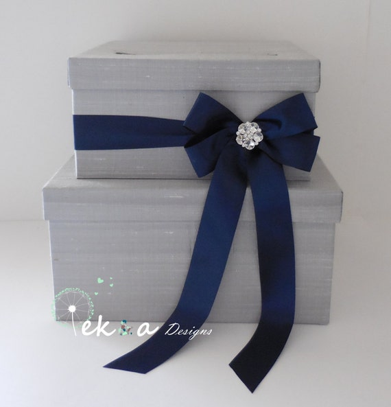 Silver Wedding Gift Card Holder : Wedding card box / wedding money box / wedding card holder /