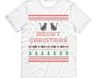 Tshirt - Meowy Christmas - Funny Christmas Sweater Cat Shirt Tee T-Shirt Mens Ladies Womens