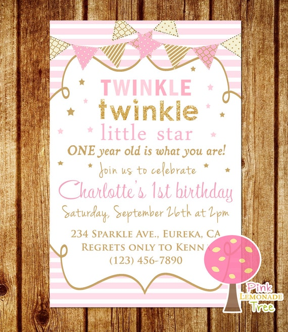 Twinkle Twinkle Little Star Birthday Invitation Pink and Gold