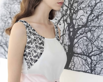 Feminine elegant top , Tank top women , White summer tank top , Women top , Sleeveless blouse