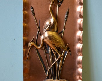 Vintage Retro Copper Art Wall Hangings Germany German storks mid century