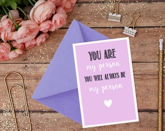 You Are My Person, You Will Always Be My Person - Meredith & Yang, Grey's Anatomy Friendship Card