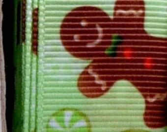 "2 Yards 7/8"" Green Gingerbread Cookie Holiday Christmas Print Grosgrain Ribbon"