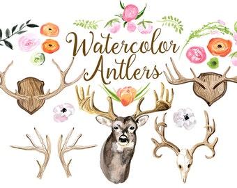 Watercolor Antlers, Deer Antler Clipart, Deers Clip Art, Woodland Rustic Illustration, Floral Antlers Art, Watercolor Tribal Deer Clip art