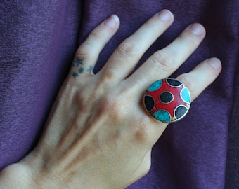 Large Ethnic Red Coral Turquoise & Black Stone Ring. Sterling Silver 925 Circle Details Vintage Indian. Belly Dancer. Bohemian. Gypsy. Boho