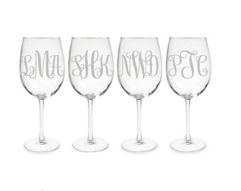 Set of 4 Monogrammed Glass Etched Wine Glasses