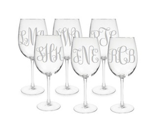 Set of 6 Monogrammed Etched Wine Glasses