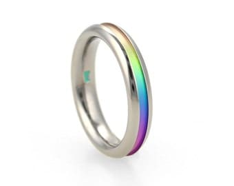 Titanium Colourful Groove Ring