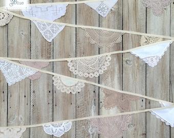 Wedding Bunting Decoration - Vintage Lace Doilies - Handmade Crochet Garland - (Magnolia) Cream Ivory Ecru - Daisies Blue 5 Metres