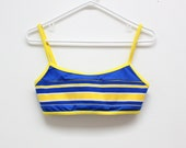 90's Striped Blue and Yellow Ribbed Club Kid Summer Swimsuit Top