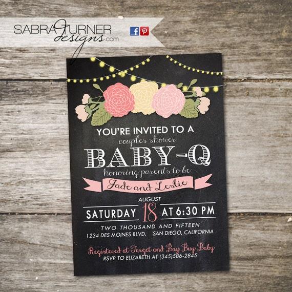 Chalkboard Baby-Q Baby Shower Invitation. Floral Baby Shower