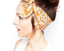 Flower Headband - Japanese Flowers Cherry Tree Blossom Orange Headband White Flower Patterns Etsy find Nature Print Accessories Fall Fashion