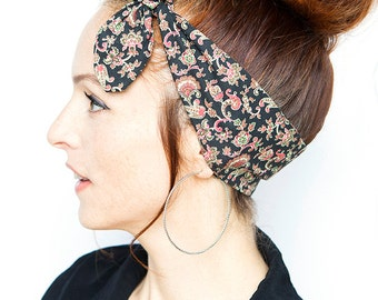 Vintage Patterns Black Headband - Paisley Dolly Bow Rockabilly Pinup Red Bandana Retro Hair Accessories Hair Scarf Fall Finds Back to School