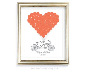 Tandem Bike and Balloons Wedding Guestbook Print / 16x20 / 50 Guests / Signature Guest Book Alternative / Personalized Wedding Poster