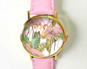 Pink Flamingo Tropical Watch , Vintage Style Leather Watch, Women Watches, Unisex Watch, Boyfriend Watch, Men's Watch, Palm Leaves , Jewelry