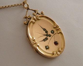 9K Gold Locket Antique Locket Victorian Locket Rose Gold Large Oval Locket Bird Wedding Anniversary Locket Necklace