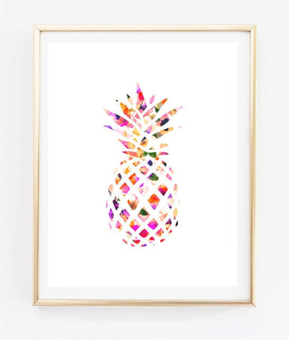 Floral pineapple painting art print room decor typographic for Cadre floral mural