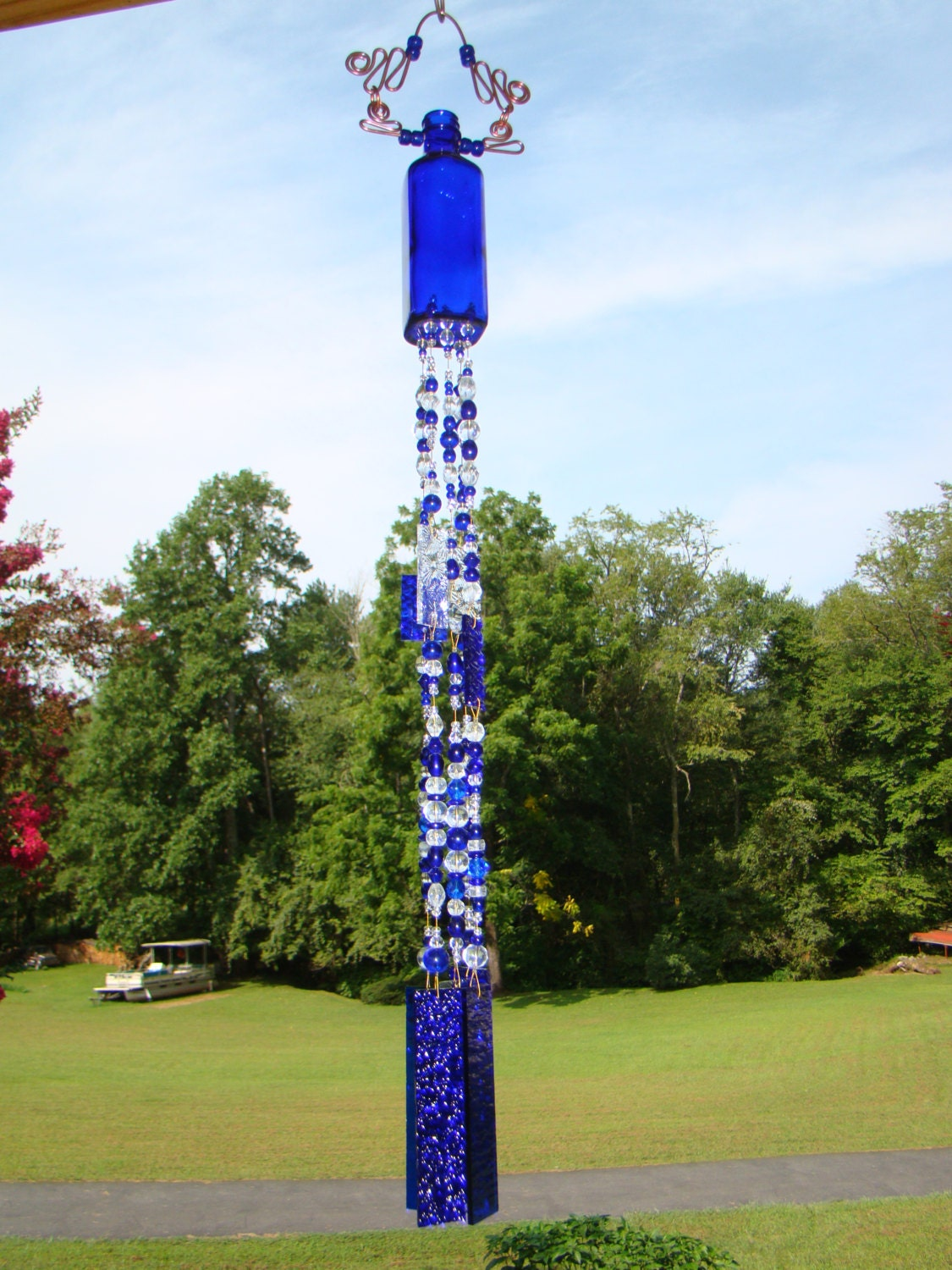 Glass bottle wind chime glass sun catcher vintage cobalt for Glass bottle wind chimes