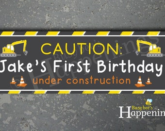 Construction Birthday Banner Caution Construction Zone Banner Construction Birthday Construction Signs by Busy bee's Happenings Digital File