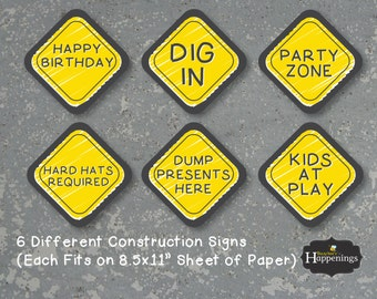 Construction Signs Construction Birthday Signs Chalkboard Digital File by Busy bee's Happenings Instant Download