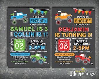 Monster Truck Birthday Invitation Chalkboard Monster Truck Invitation Truck Chalkboard Invitation Digital File by busy bee's Happenings