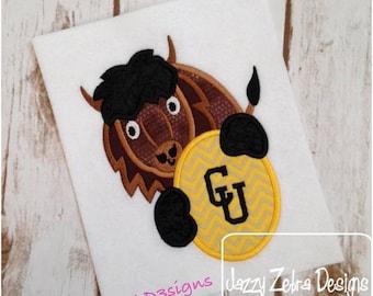 Buffalo Monogram Applique embroidery Design - buffalo applique design - mascot appliqué design - school appliqué design