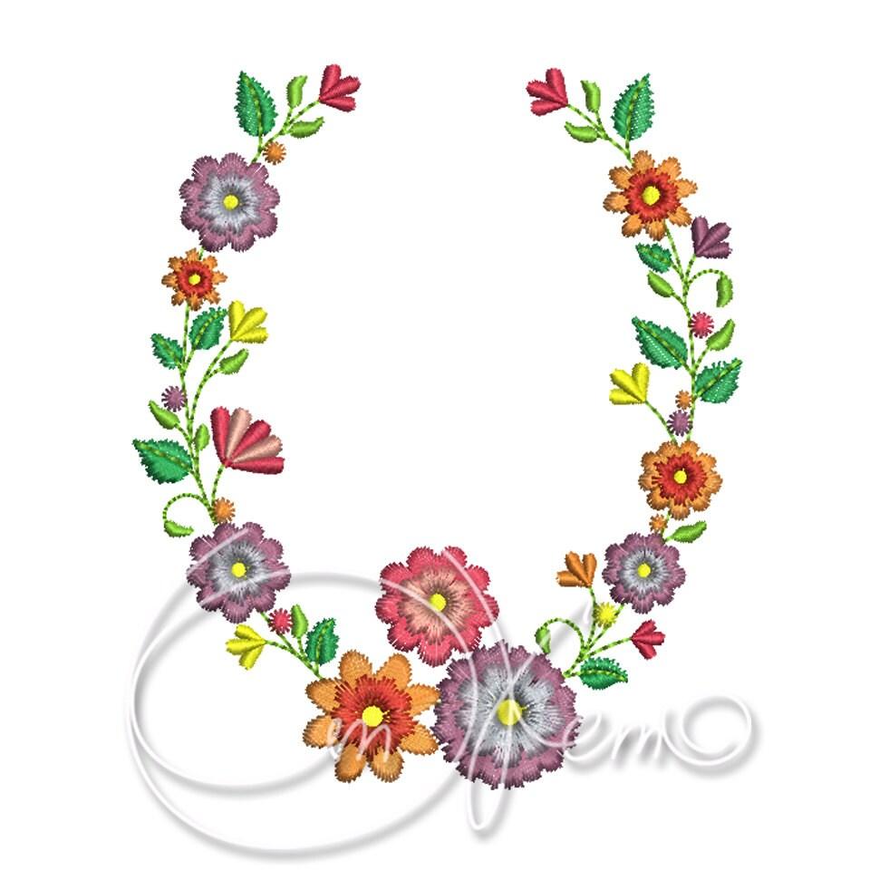 Machine embroidery design floral ornament