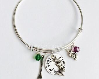 Little Mermaid Inspired Bracelet. Ariel Bangle. Ariel Jewelry