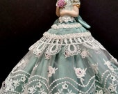 Porcelain Half Doll, Pincushion, Dresser Doll, Boudoir Doll, OOAK Signed & Dated, Victorian Fashion, Unique Gift idea