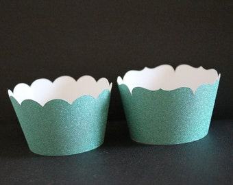 Teal Glitter Cupcake Wrappers - Weddings, Birthdays, Baby and Bridal Showers, Bachelorette Party & Graduations