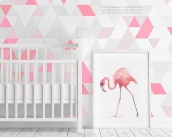 Flamingo Watercolor Painting, Girls Room Nursery Decor, Pink Flamingo Giclee Fine Art Print, Bird Tropical Art