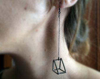Triangle erarings, geometric erarings, long chain earrings, 3d triangle earrings